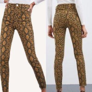Zara Snakeskin Python High Rise Skinny Jeans Sz 4